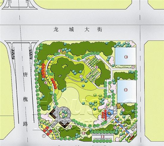 公园内将建主广场,景观廊架,异形水池,连续性趣味空间,林下多功能